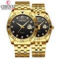 Часы для пар CHENXI  кварцевые наручные часы для мужчин и женщин  роскошные золотые часы из нержавеющей стали с календарем