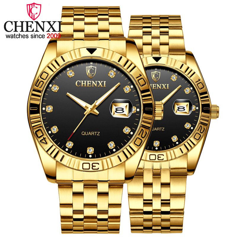 CHENXI Brand Couple Watches Quartz Lovers Wristwatches For Men & Women Gold Luxury Stainless Steel Watch Calendar Reloj Hombre
