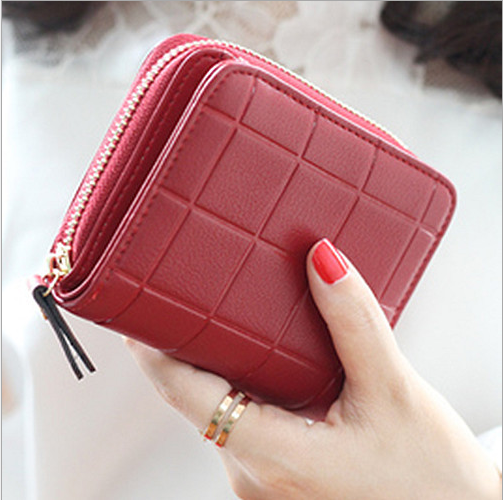 Short Clutch Change Coin Cards Bag Women Purse Ladies Handbag Check Wave Wallet Free Shipping