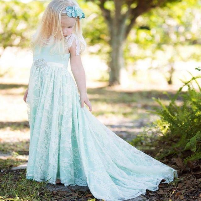 vestido de daminha Mint Green Lace Flower Girl Dresses Graceful ...