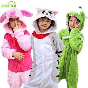 Image 1 - NEW Kids Boys Girls kigurumi Pajamas Set Animal Pegasus Pig Rabbit Pyjamas For Children Flannel Sleepwear Onesie Winter Hooded