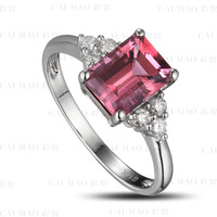 CaiMao 1 75ct Natural Pink Tourmaline 0 19ct Diamond 18k Gold Gemstone Engagement Ring Fine Jewelry