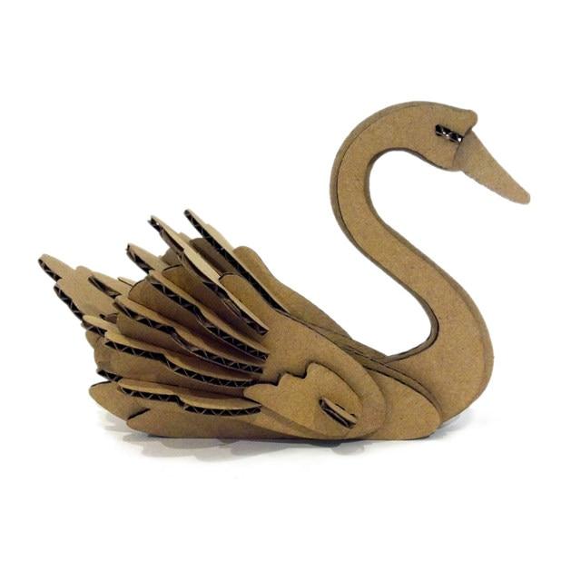 Online Shop 3d Puzzle Swan Paper Craft Model Kids Diy Cute Swan
