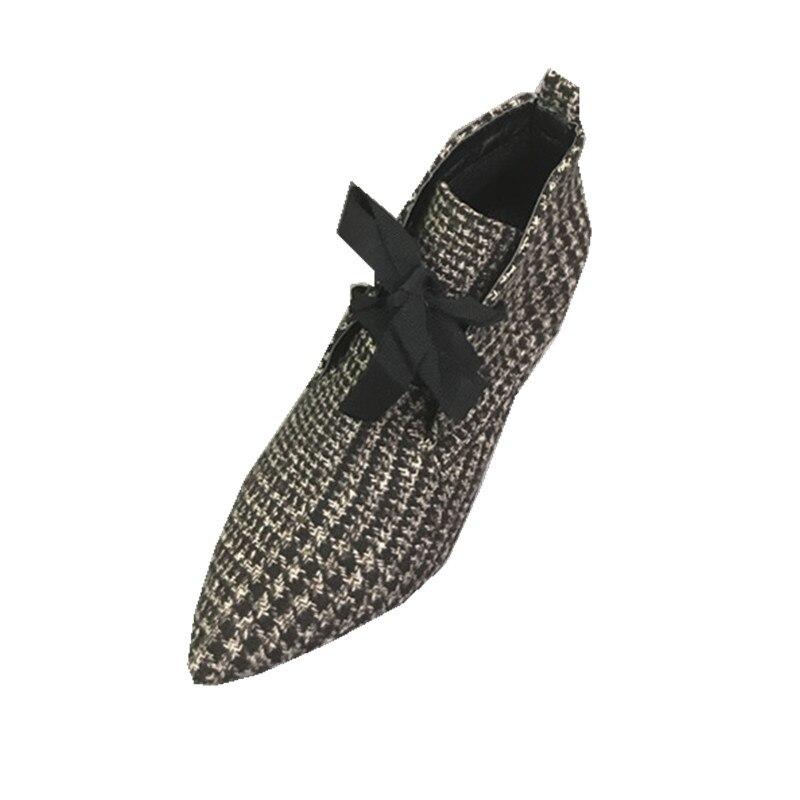 Station européenne Automne Rétro Plaid Talon Chaussures Pointu Et bottines Avec Stiletto bottines