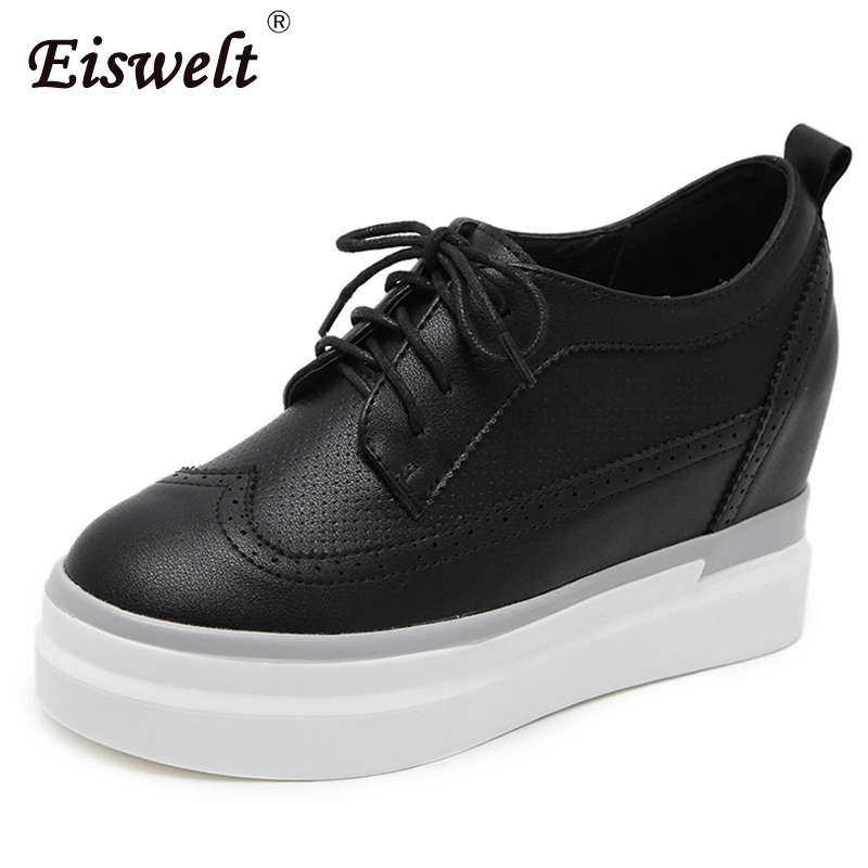 EISWELT 2018 New Women Shoes Wedges Pumps Platform Shoes Lace Up Round Toe Heels Women Spring Autumn Casual Pumps#ZQS264 egonery shoes 2017 spring and autumn concise wedges butterfly knot pumps simple lace up sweet round toe women fashion high heels