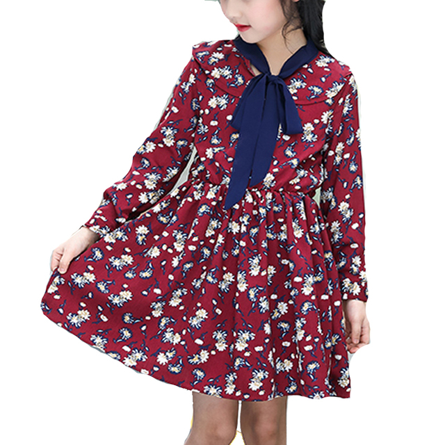 5c9a668e1b2 Girls Dresses for Kids Casual Clothes Summer Cute Ribbons Print Long Sleeve  Sundress Hot Baby Girls Cotton Outfits Vestidos