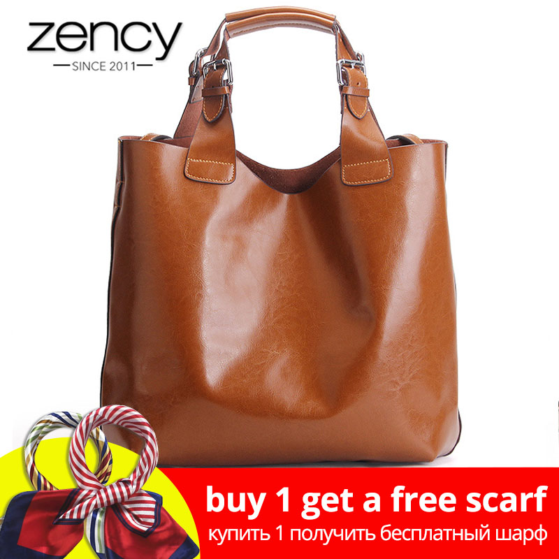 Zency 100% Kulit asli Retro Brown Wanita Handbag Lady Big Tote Bag Laptop Classic Coffee Female Shoulder Bags Shopping Purse