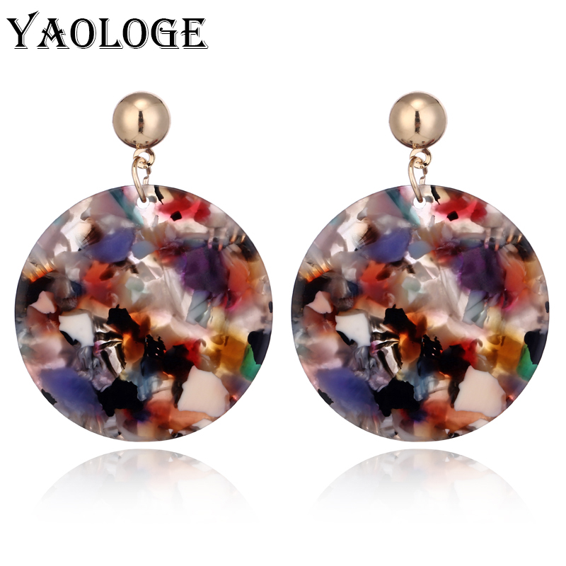 YAOLOGE Classic Striped Acrylic Earrings Fashion Colorful Creative Personality Jewelry Vintage Statement For Women Accessories