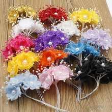6 pieces / piece gold bridal tiara flower mini silk artificial rose bouquet scrap leaf stamen wedding