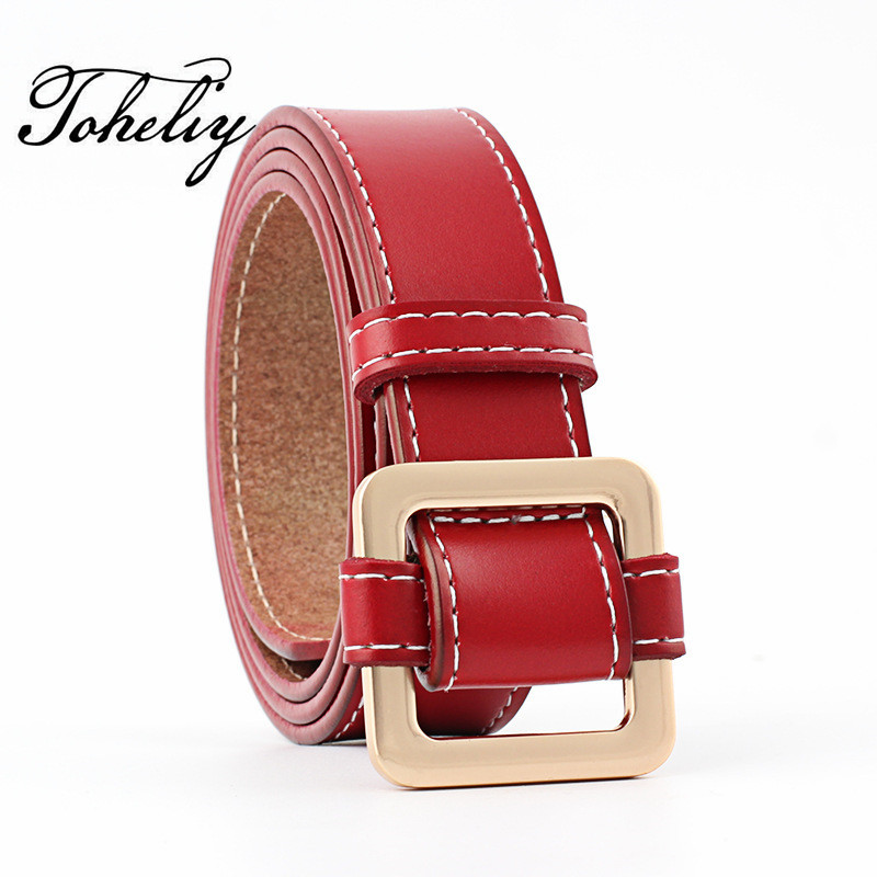 2018 Hot sale Retro fashion Cowhide leather of women belt  metal Smooth buckle belts for women Lady girdle