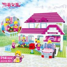 Lovely Pink Princess Series Luxury Dream Villa Girl Building Block Educational DIY Construction Bricks Toys For Children