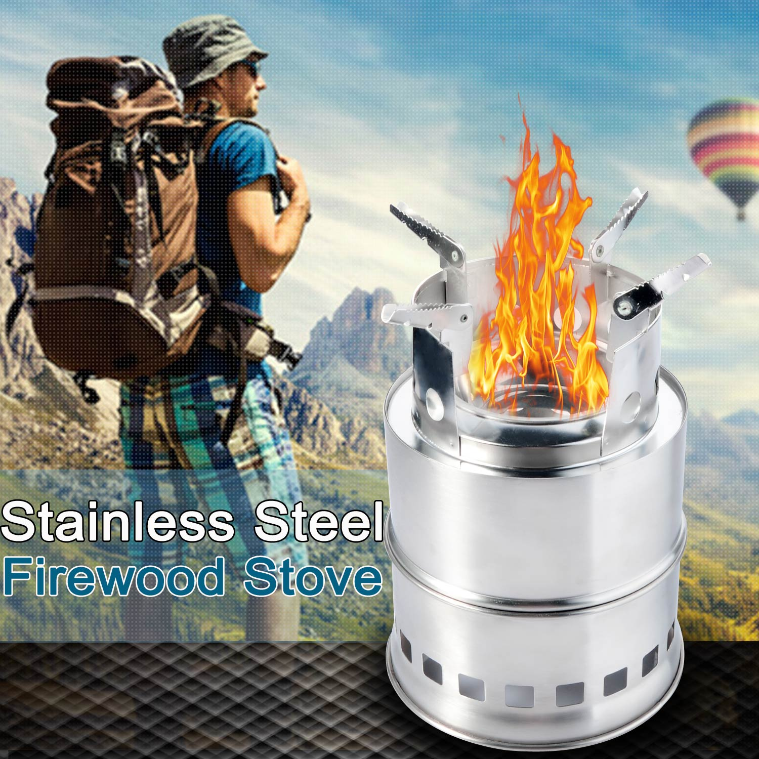 Lightweight Portable Outdoor Stoves Wood Stove Firewoods Furnace Collapsible Stainless Steel Backpacking Picnic Camping Stove P5