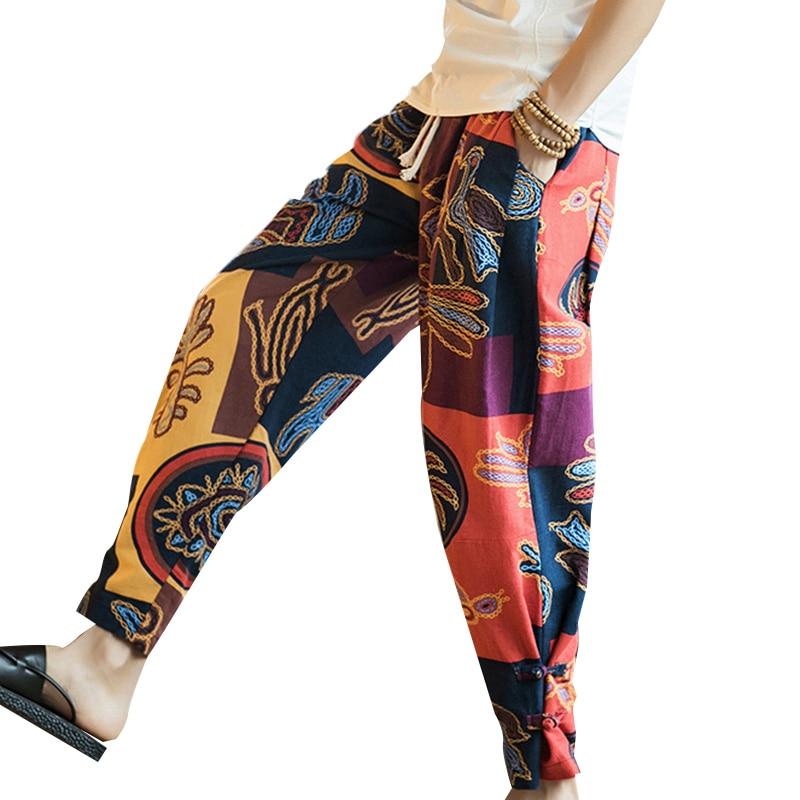 2019 Plus Size Casual Men Pants Chinese Style Ethnic Print Cotton Loose Elastic Waist Trousers Men Fashion Harem Pants Pantalon