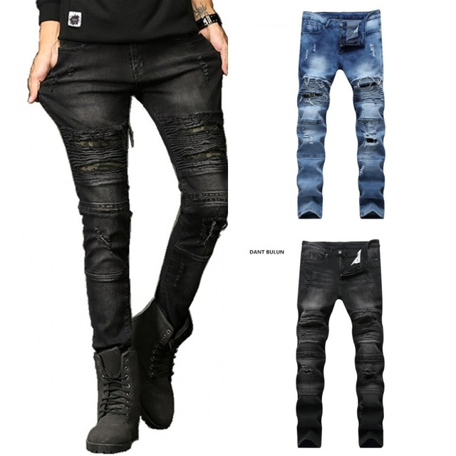 70249066db9e 2018 Fashion Hip Hop Patch Men Retro Jeans Knee Rap Hole Zipped Biker Jeans  Men Loose