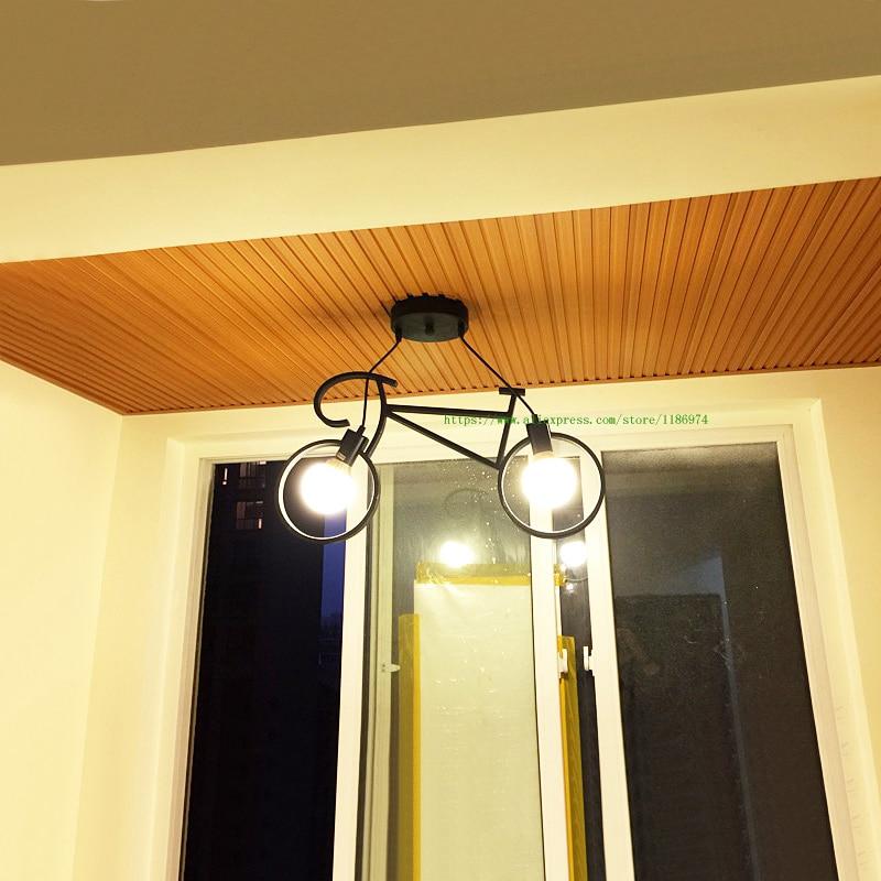 Retro pendant lamps black white  bedroom boy cartoon child led pendant lighting wrought iron Bike lamp metal cage pendant lights