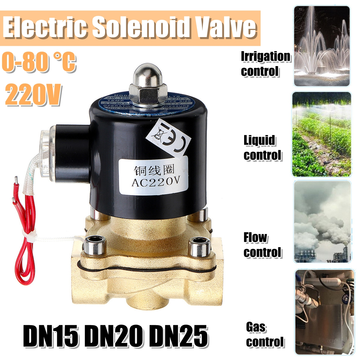 1/2 3/4 1 Inch 220V Electric Solenoid Valve Pneumatic Valve for Water Air Gas Brass Valve Air Valves DN15 DN20 DN25 smc type cxsm32 40 cxsm32 40 double cylinder double shaft cylinder double rod cylinder cxsm 32 40
