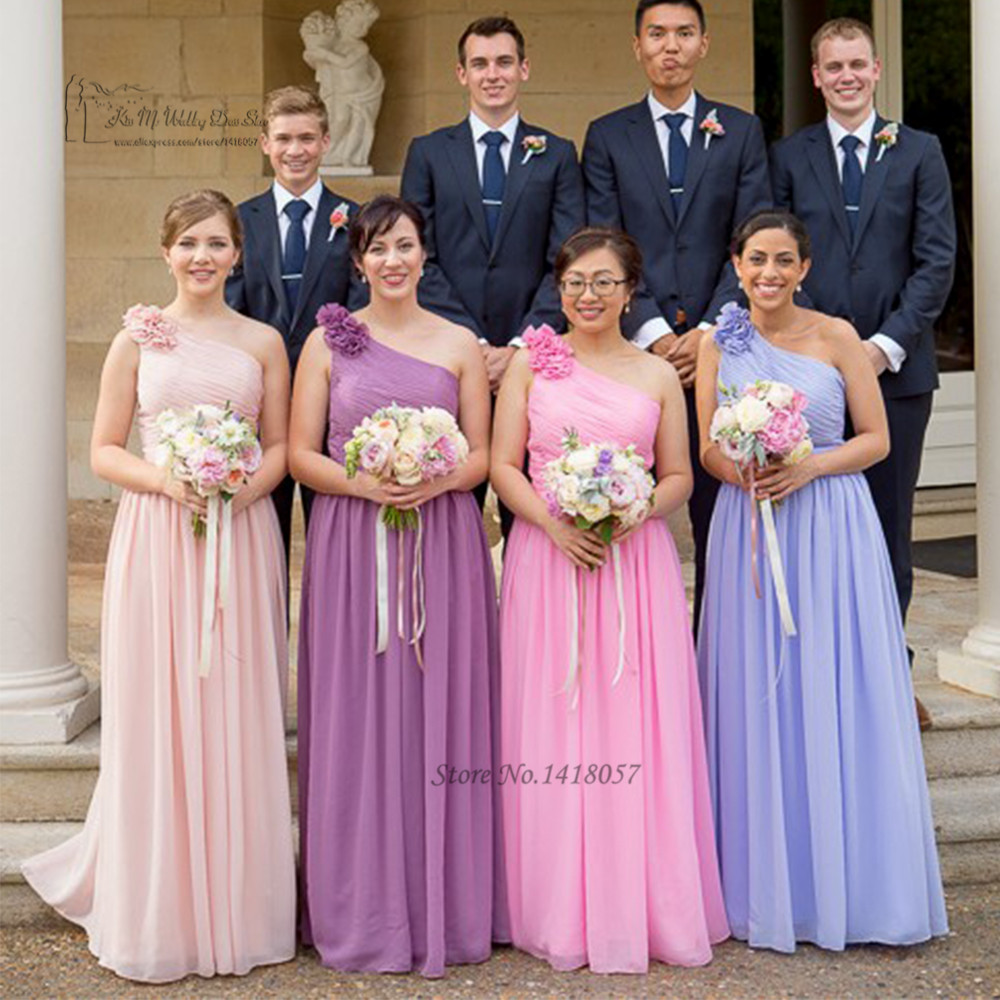 Online get cheap purple bridesmaid dresses scalloped aliexpress pink purple lavender long wedding party dresses gowns one shoulder flowers 2016 bridesmaid dresses robe demoiselle ombrellifo Images