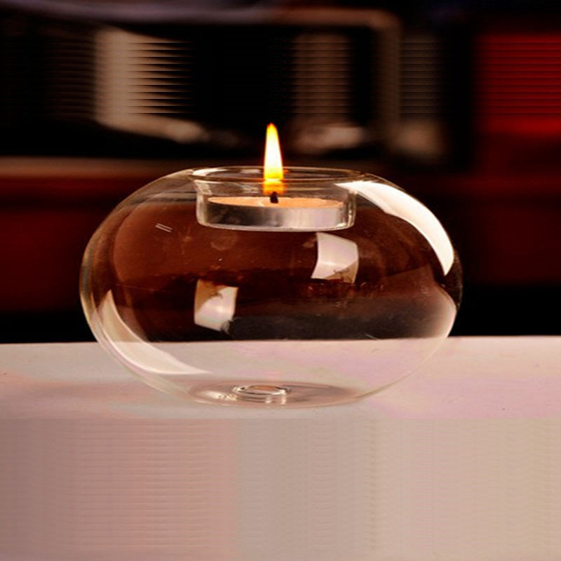 1Pcs New Fashion Glass Candle Holder Crystal Clear Globe Glass Terrarium Party Home Decoration image