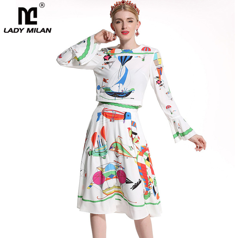Lady Milan 2018 Womens O Neck Flare Sleeves Printed Blouse with Skirts Fashion Two Piece Dresses Sets