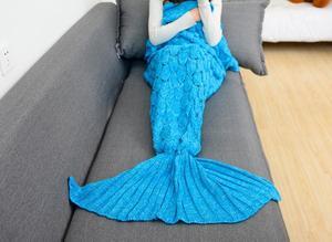 Image 4 - CAMMITEVER 180*90cm manta de cola de sirena de ganchillo manta para adulto de todas las estaciones manta para dormir