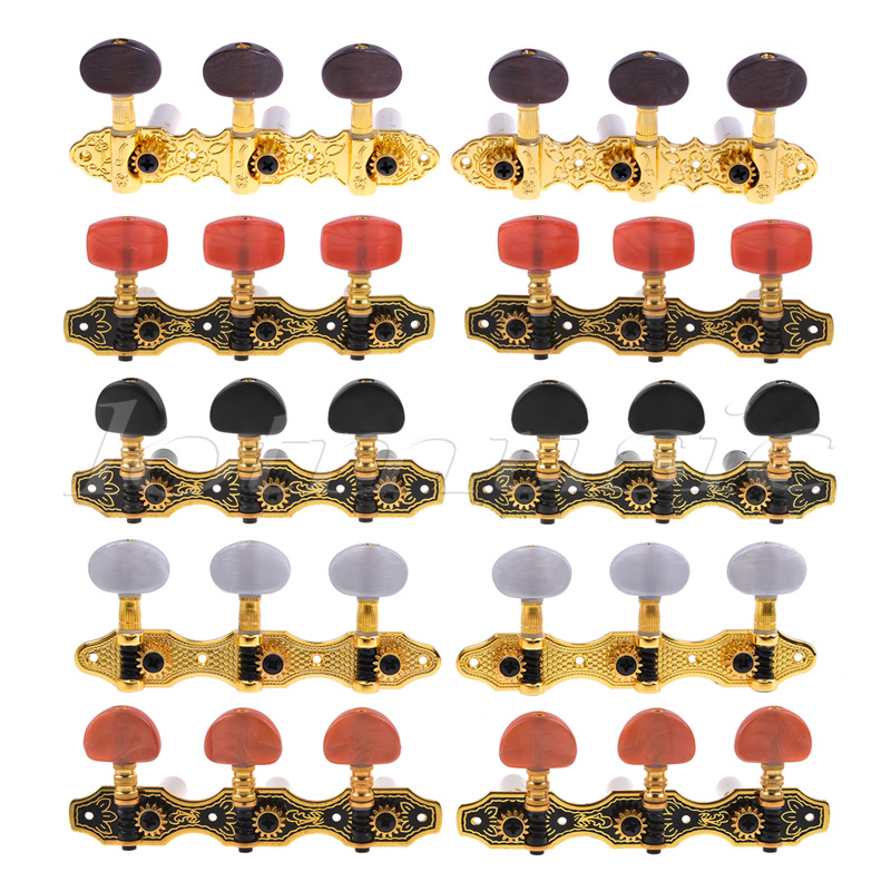 Classical Guitar Tuning Pegs Keys Machine Heads Tuners 3R3L 5 Sets Gold Black gold guitar locking tuners electric guitar machine heads tuners jn 07sp lock tuning pegs with packaging