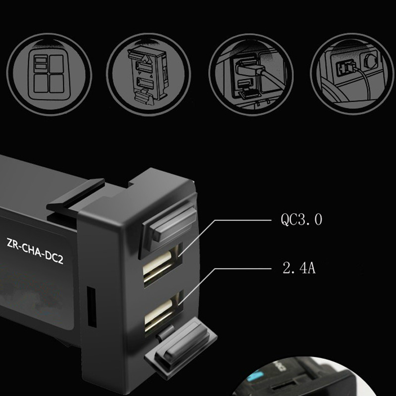 US $14 74 30% OFF|car Interface USB Charger Dual usb port with QC 3 0 fast  charge for Lexus IS250 GX460 ES350 IS300h IS200t LX570 RC200t ES300h-in