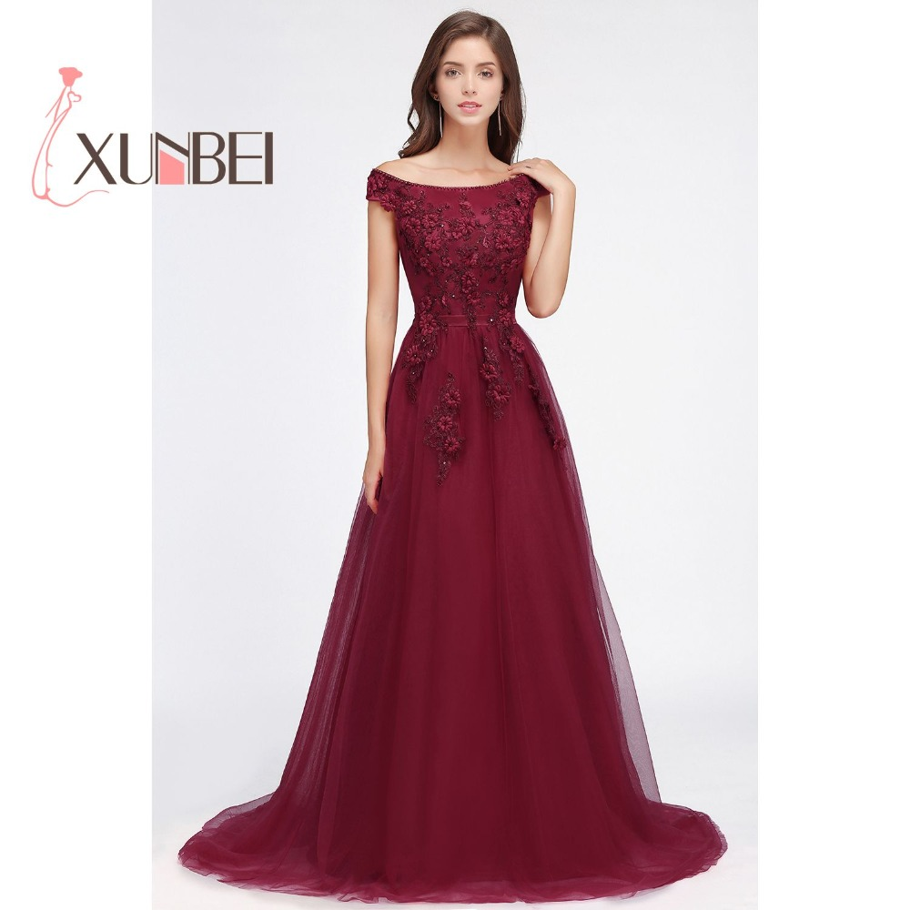 Robe de Soiree 3D Floral Print Long Burgundy Beaded Prom Dresses ...
