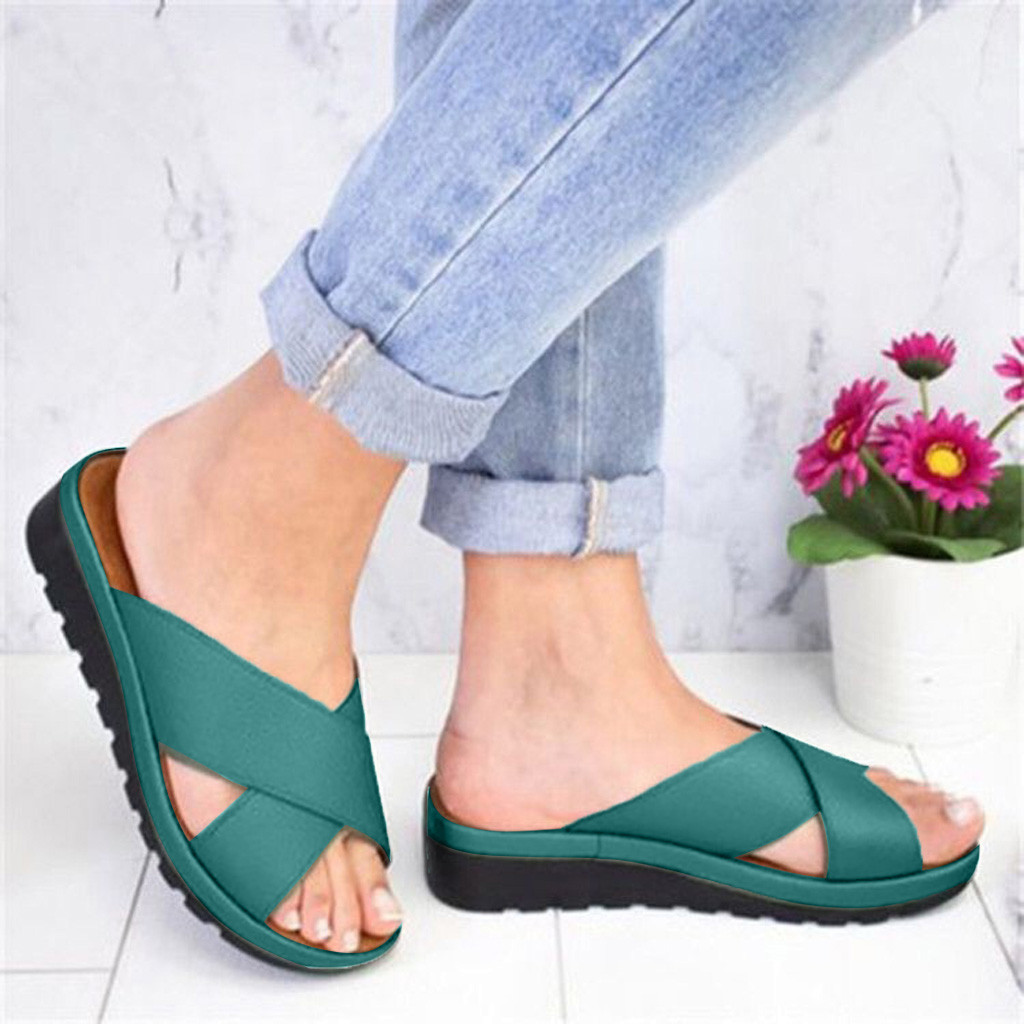 Sandals Womens Shoes Slippers Open-Toe Fashion Wedges Thick-Bottom Roman