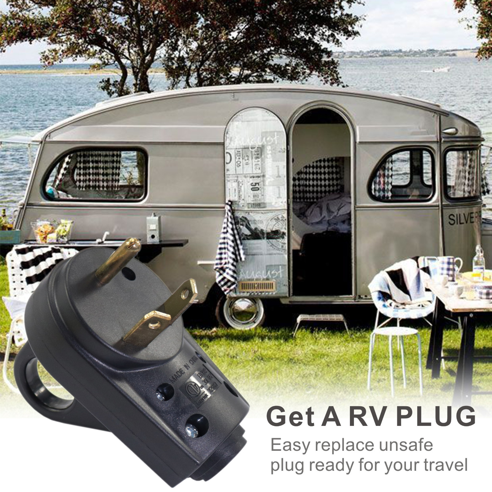 Motorhome 50 Amp Male Heavy Duty RV Replacement Receptacle Plug Electrical Plug Adapter with an Easy-Grip Handle for RV Trailer Camper Boats