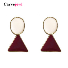 Carvejewl new Korea design hand made enamel glaze dangle earrings cute geometric triangle oval plastic post anti allergy earring