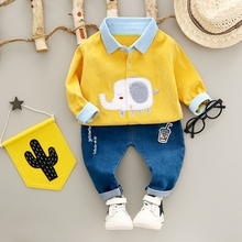 Autumn Baby's Clothing Sets Girls Denim Jeans Trousers + Boys Corduroy Elephant Lapel Collar Shirts Kids 2Pcs Suits
