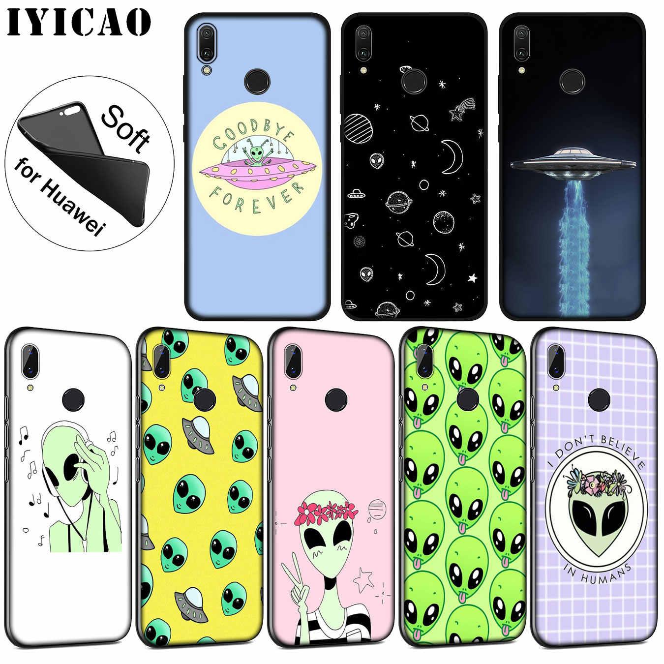 IYICAO Carino Alien UFO Kawaii Molle della Cassa Del Silicone per Huawei P30 P20 Pro P10 P9 P8 Lite Mini 2017 2016 2015 P di smart Z 2019 di Copertura