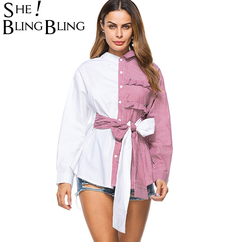 SheBlingBling Striped Patchwork Long Sleeve Women Shirts Fashion Office Lady Single Breasted Shirt Frill Detail Casual Tops