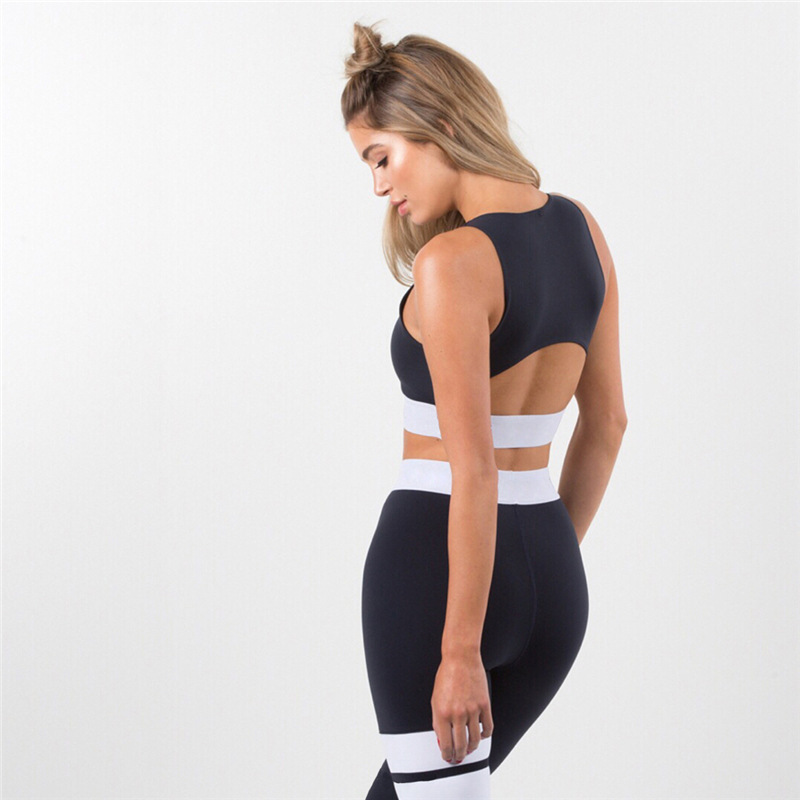 Women Tracksuit Solid Yoga Set Patchwork Running Fitness Jogging T-shirt Leggings Sports Suit Gym Sportswear Workout Clothes S-L 10
