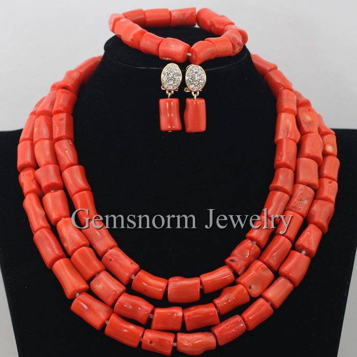 Genuine Coral Beads Necklace Jewelry Nigerian Wedding African ...