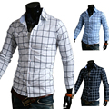 Fashion grid big yards shirt men long sleeve shirt camisa masculina chemise homme social slim fit striped shirt ozil jersey juve