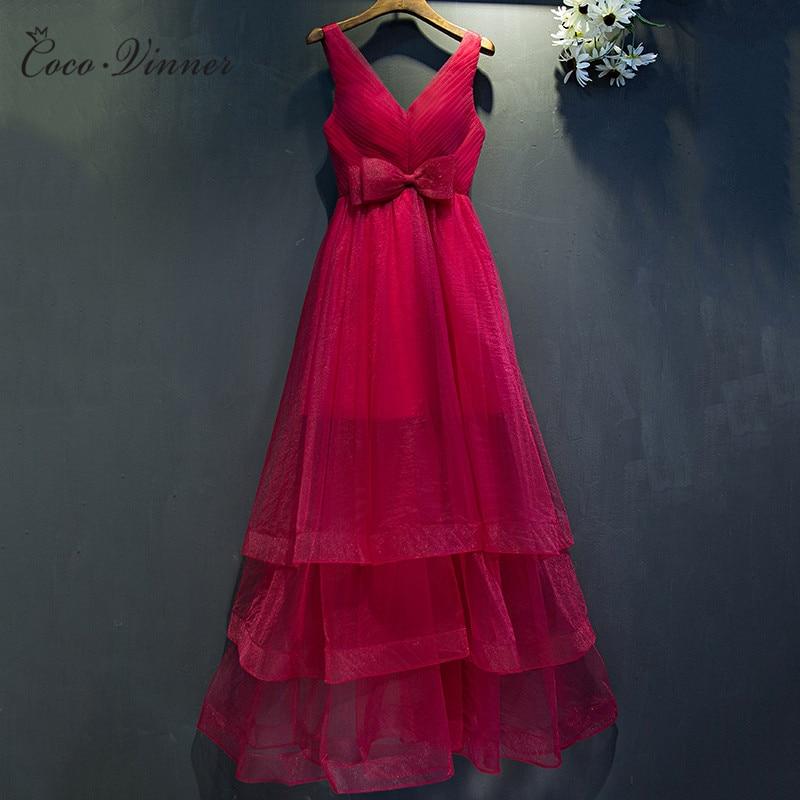 C.V Sexy V neck Evening dress women tank design medium-long cake style with bow women ever pretty Tulle party dresses E0050