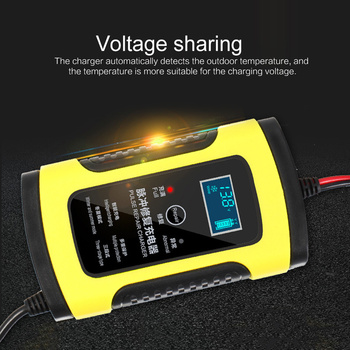 12V 6A EU Plug Car Battery Charger Fast Power Charging Pulse Repair Charger Wet Dry Lead Acid LCD Display Motorcycle Accessories image