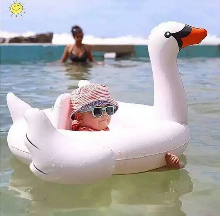 U-miss Flamingo Swim Ring Swimming Pool Inflatable Flamingo Float Pool Toys Inflatable Water Floaties Swimming Ring Ride on Toy