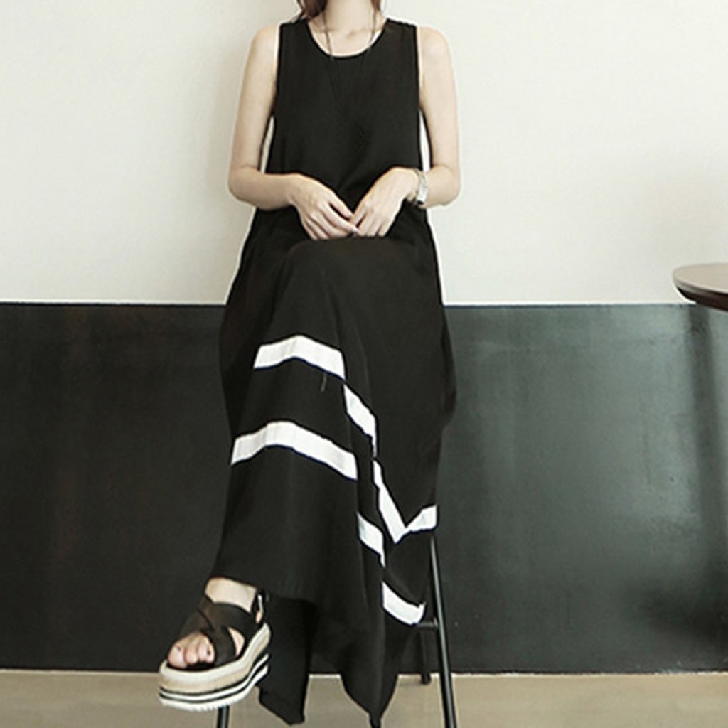 Women Dress New Arrival Black White Striped Print Sleeveless Summer Dress O neck Casual Loose