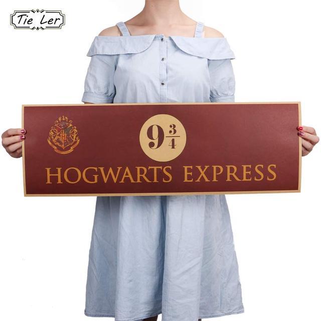 9 3/4 (neuf et trois quarts) plate-forme Harry Potter film Vintage papier décoration affiche Stickers muraux 72x24 cm