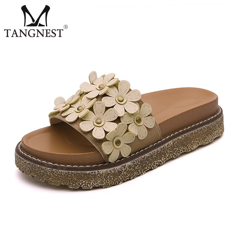 Tangnest Women Summer Slippers Platform Shoes Sweet Flowers Flat Slippers Casual Beach Slides Female Non-slip Shoes XWT1152 women slippers summer bling beach shoes sequined rivet fashion slippers female light flat platform non slip ladies shoes ald931