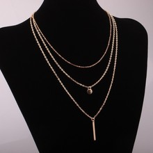 Europe and the United States exaggerated metal multi-layer round chain choker necklace