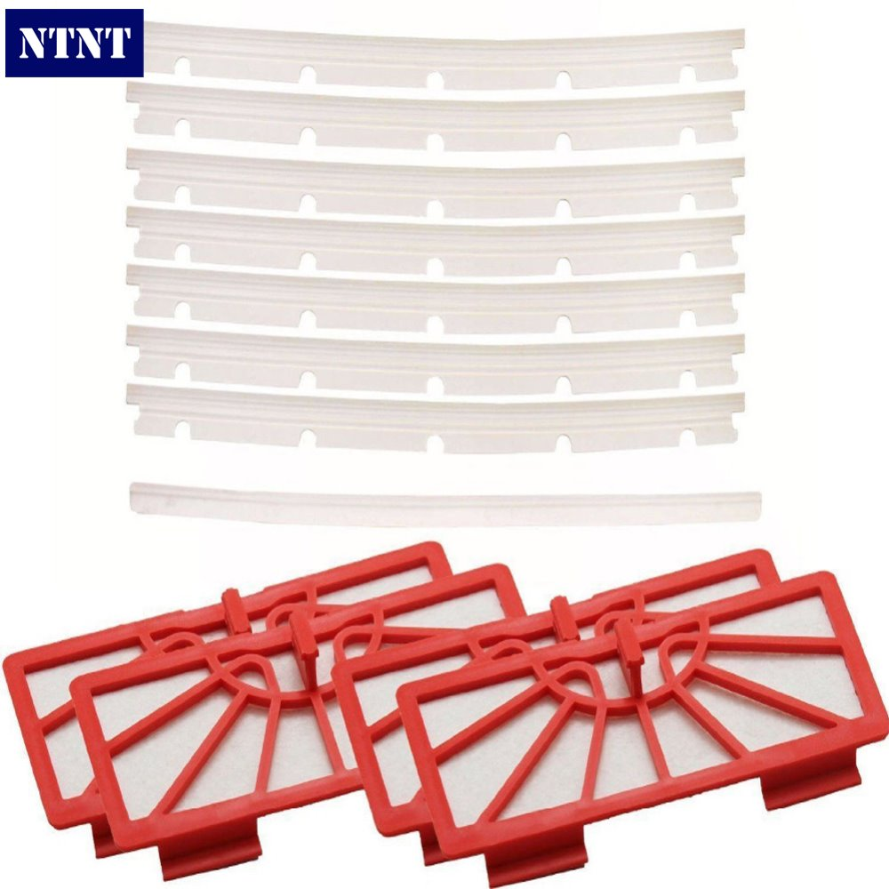 NTNT Free Post New 4 Replacement Filters + 6 Blades and 1 Squeegee For Neato XV-11 xv-12 xv-14 neato spiral blade brush 6 piece brush blade and 1piece squeegee replacement pack xv 11 xv 12 xv 14 xv 15 xv 21