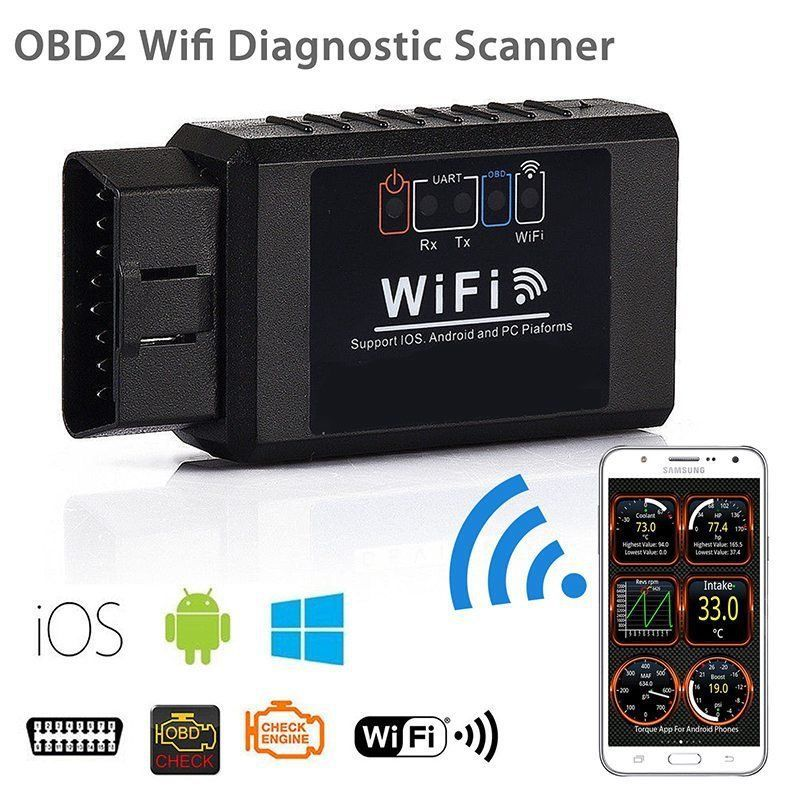 ELM 327 WIFI V1.5 Black Supports Android Apple Dual System OBD2 Automotive Detector
