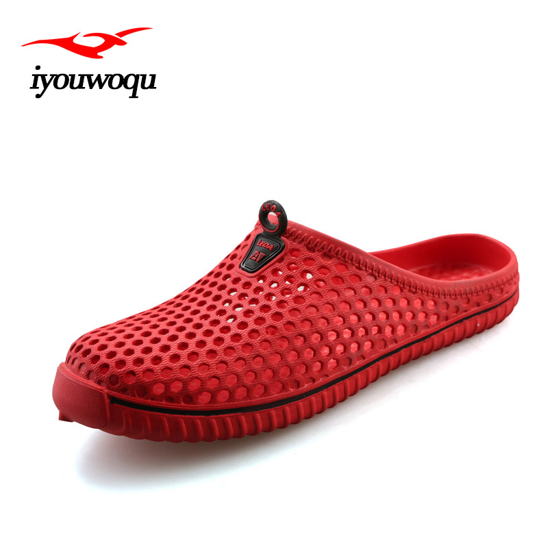 Fashion Men Slippers 2017 Summer Breathable hollow Beach sandals Plus Size Sandals men Red White Blue 36-45 sandalias mujer цены онлайн