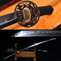 TOP QUALITY KATANA CLAY TEMPERED DAMASCUS JAPANESE SAMURAI SWORD FOLDED STEEL FULL TANG BLADE Imported Sageo