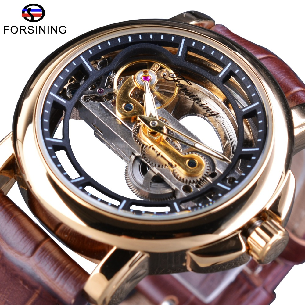Forsining Transparent New Automatic Movement Brown Genuine Leather Mens Watches Top Brand Luxury Automatic Skeleton Wrist Watch forsining 3d skeleton twisting design golden movement inside transparent case mens watches top brand luxury automatic watches
