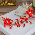 Classic Red Crystal Hairband Handmade Fabric Floral Headband Bridal Hair Jewelry Wedding Hair Accessories Hair Ornaments SG239