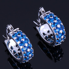 Angelic Round Blue Cubic Zirconia 925 Sterling Silver Clip Hoop Huggie Earrings For Women V0952